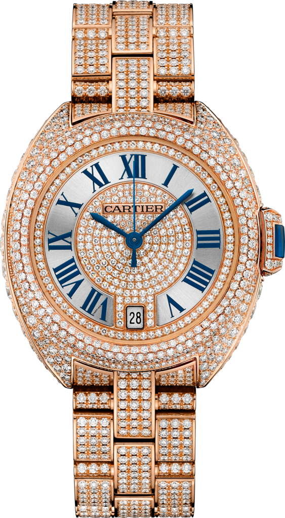 Clé de Cartier watch35 mm, rose gold, diamonds