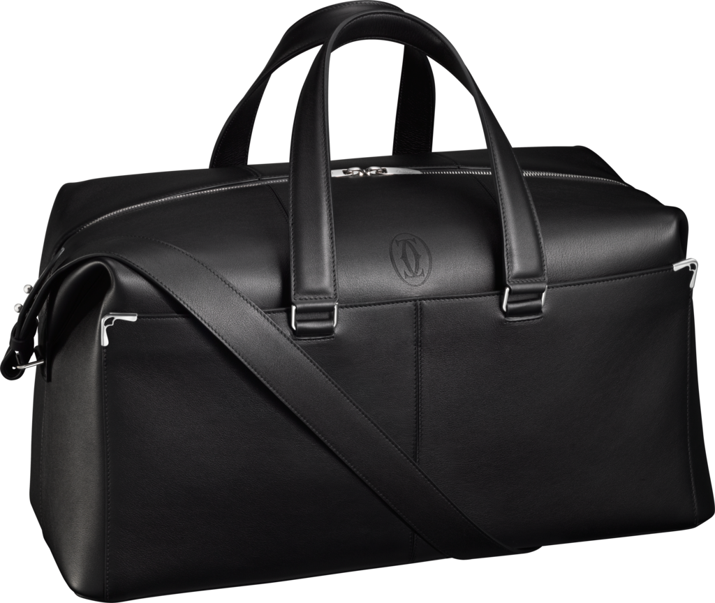 Must de Cartier bag, weekend bagBlack calfskin, palladium finish