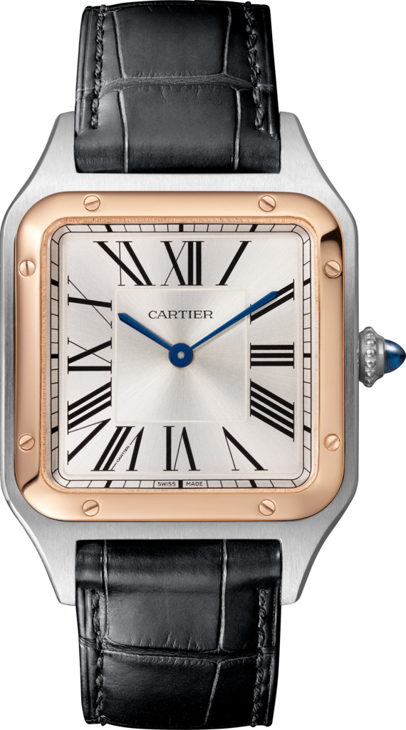 Santos-Dumont watchLarge model, rose gold and steel, leather