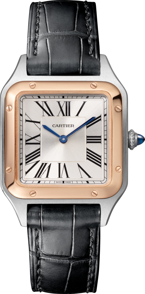 Santos-Dumont watchSmall model, rose gold and steel, leather