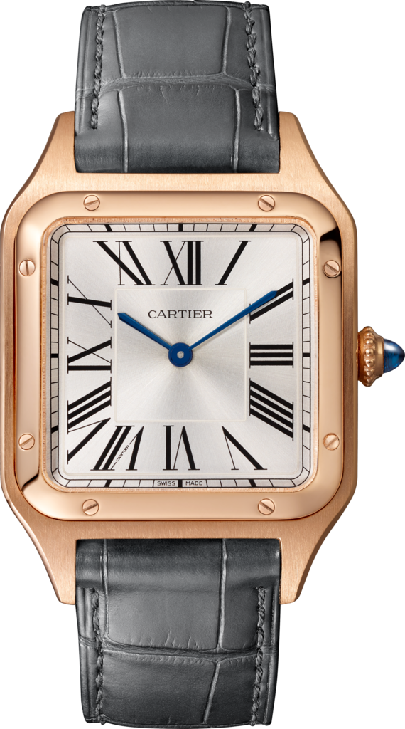 Santos-Dumont watchLarge model, rose gold, leather