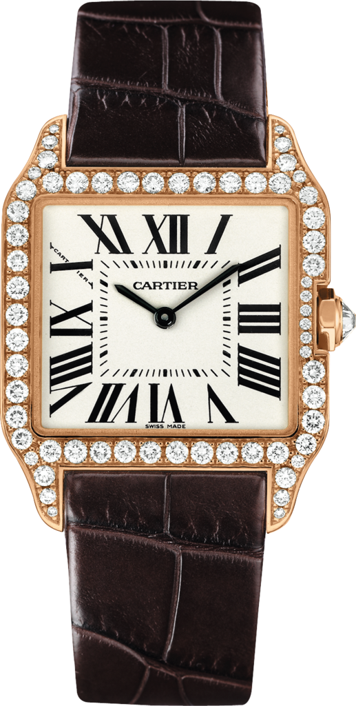 Santos-Dumont watchSmall model, rose gold, leather, diamonds