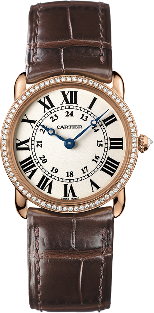 Ronde Louis Cartier watch29 mm, rose gold, leather, diamonds