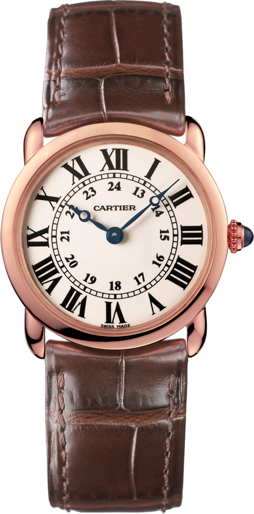Ronde Louis Cartier watch29 mm, rose gold, leather