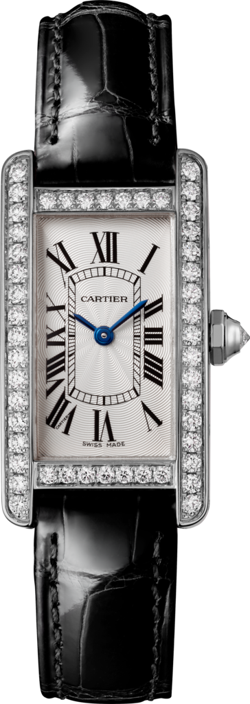 Tank Américaine watchSmall model, rhodium-finish 18K white gold, leather, diamonds